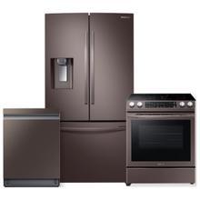 See Details - SAMSUNG 23 cu. ft. Counter Depth 3-Door French Door Refrigerator- 3 Piece Package in Tuscan Stainless Steel