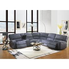 Saul Slate Blue 6PC Power Modular Sectional