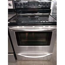 Stainless Steel Frigidaire Glass Top Range (This may be a Stock Photo, actual unit (s) appearance may contain cosmetic blemishes. Please call store if you would like additional pictures). This unit carries our 6 Month warranty, MANUFACTURER WARRANTY and REBATE NOT VALID with this item. ISI 37469 B
