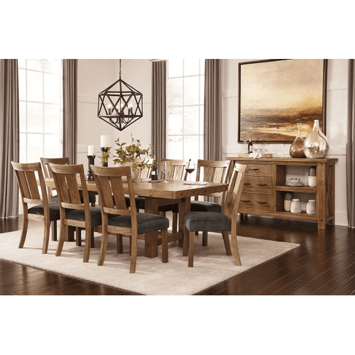 Tamilo - Gray/Brown - 9 Pc. - Rectangular Extension Table & 8 Upholstered Side Chairs