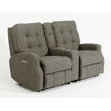 Devon Fabric Reclining Console Loveseat without Nailhead Trim
