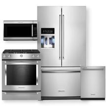 """See Details - KITCHENAID 36"""" Standard Depth French Door Refrigerator & Gas Slide-In Convection Range 4pc Package- Open Box"""