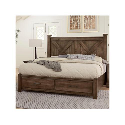 Vaughan-Bassett - Queen Cool Rustic Mink X Bed with Footboard Storage