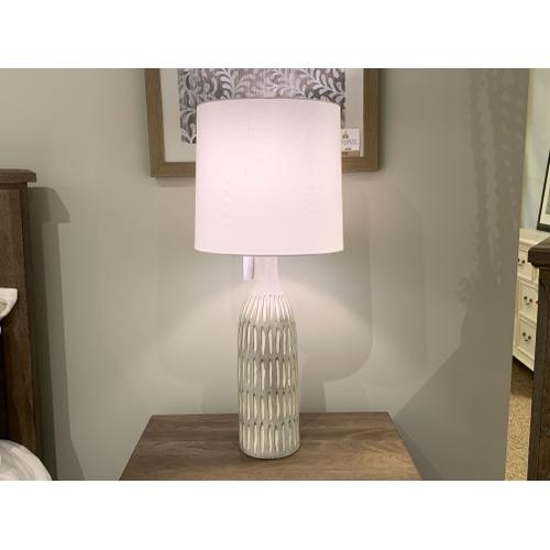 Earthy Striped Stone Bottle Shaped Table Lamp with White Shade
