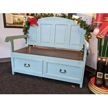 Antique Turquoise Bench with Storage