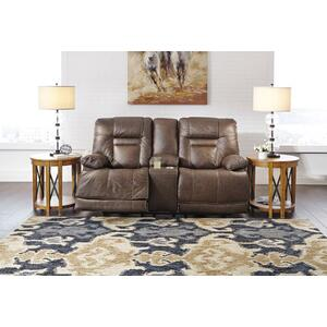 Ashley Power Reclining Loveseat with Console and Adjustable Headrest Wurstrow Umber