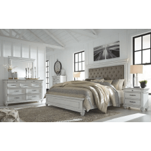 Kanwyn - Whitewash - 7 Pc. - Dresser, Mirror, Chest, Nightstand & King Upholstered Bed
