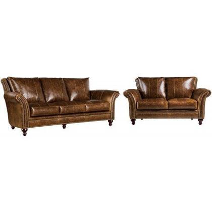 2239 Butler Sofa & Loveseat Brown (100% Top Grain Leather)