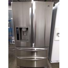 Stainless LG French 4 Door Refrigerator  (This may be a Stock Photo, actual unit (s) appearance may contain cosmetic blemishes. Please call store if you would like additional pictures). This unit carries our 6 Month warranty, MANUFACTURER WARRANTY and REBATE NOT VALID with this item. ISI  39908