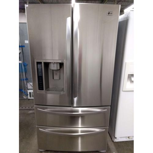 Stainless LG French 4 Door Refrigerator  (This may be a Stock Photo, actual unit (s) appearance may contain cosmetic blemishes. Please call store if you would like additional pictures). This unit carries our 6 Month warranty, MANUFACTURER WARRANTY and REBATE NOT VALID with this item. ISI  39505