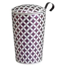 See Details - Eigenart Double Wall Porcelain Tea Cup May Lin Lilac Lux Line Teaeve with Porcelain Lid and Stainless Steel Tea Strainer, 11.85 Oz