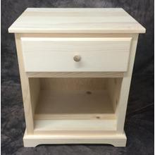 Maine Made Traditional 1 Drawer Wide Nightstand Pine Unfinished