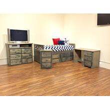 "Twin Captains Bed W"" 4 Drawers Rustic Grey"