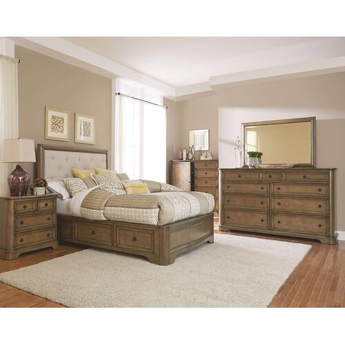 RGB Stonewood King Manor Upholstered Storage Bed Rustic Glazed Brown Finish