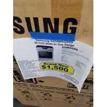 """View Product - Samsung 30"""" Slide In Gas Range NX58M9420SS (NEW IN BOX)"""