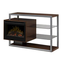 DIMPLEX HADLEY WALNUT MANTEL MEDIA CONSOLE WITH 25IN LOG FIREPLACE