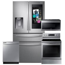 See Details - SAMSUNG 28 cu. ft. 4-Door French Door Refrigerator with 21.5 Touch Screen Family Hub 4 Pc Package- Open box