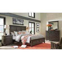 King Panel Storage Bed (Available in Whiskey Brown or Peppercorn Grey Finish)