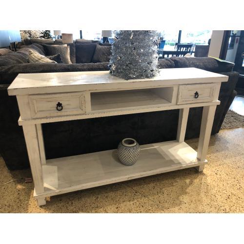 White Rub Sofa Table