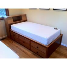 "Shaker Twin Size Double High Chested with 12"" Bookcase Slant Headboard in Cherry Wood"