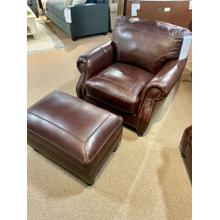 Stallion Burgundy Leather Chair & Ottoman