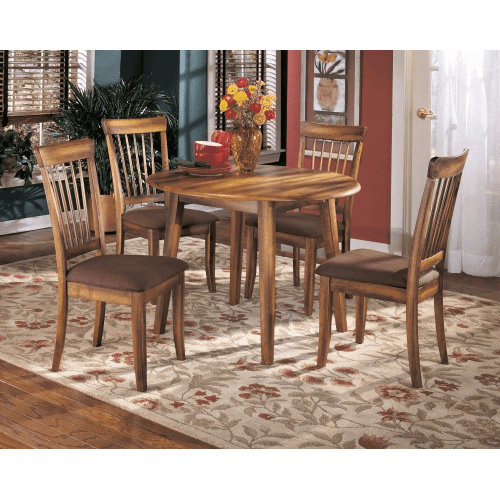 Berringer - Rustic Brown - 5 Pc. - Drop Leaf Table & 4 Upholstered Side Chairs