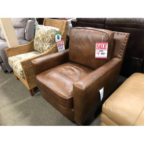 Leather Chair with nailhead trim! Excellent buy!