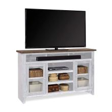 "65"" Highboy Console in White Finish with 2 Doors"