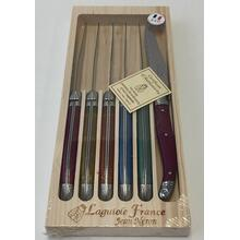 Neron Coutellerie Laguiole 6-Piece Set Steak Knives with Plated Flash Color Handle in Wooden Box by Jean Neron