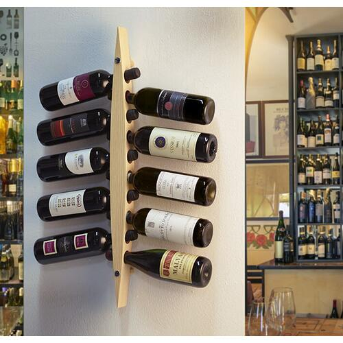 Legnoart - Legnoart Enoteca 10 Bottle Stand Solid Dark Ashwood Wall Rack