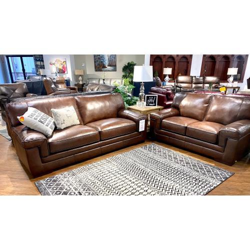 Simon Li Furniture - Stallion Thistle Leather Sofa & Loveseat