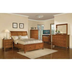 Winners Only Inc - Vinatge Cognac Queen Sleigh Storage Bed