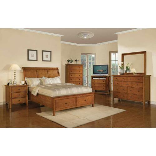 Product Image - Vinatge Cognac Queen Sleigh Storage Bed