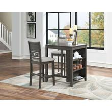 See Details - Gia 3 Pc Grey Counter Height Storage Table   2 Chairs by New Classic D1701-32