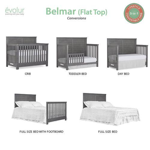 Product Image - Evolur Belmar Flat 5 in 1 Convertable Crib- Rustic Grey