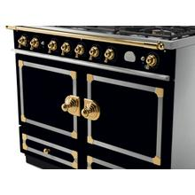 CornuFe 110 Dual Fuel Range -  Gloss Black with Stainless Steel and Polished Brass Trim