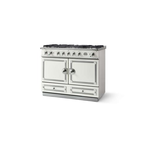 CornuFe 110 Dual Fuel Range -  Pure White with Stainless Steel and Polished Chrome Trim