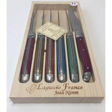 Neron Coutellerie Laguiole 6-Piece Set Steak Knives with Flash Color and Hand Carved Plated Handle in Wooden Box by Jean Neron