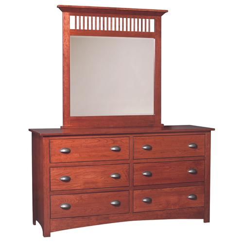 Country Value Woodworks - Cherry Mission Dresser with Mirror