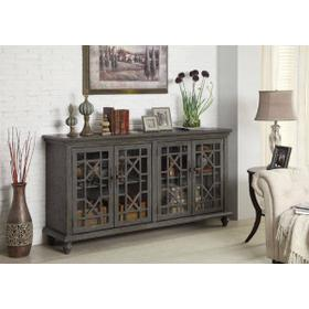 Gray Rub 4 Door Media Credenza