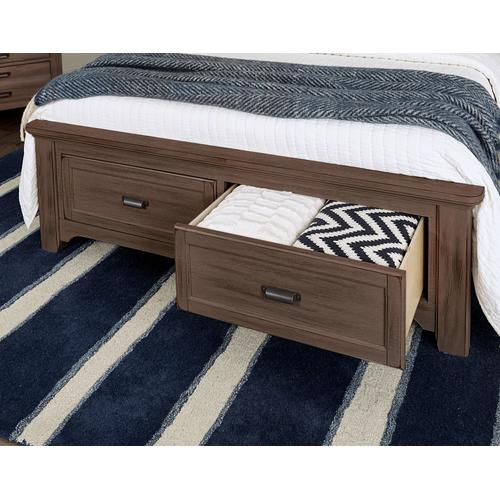 Vaughan-Bassett - Queen Bungalow Upholstered Storage Bed - Folkstone Finish