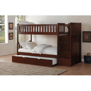 Rowe Bunk Bed Twin on Twin with Reversible Step Storage and Twin Trundle