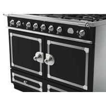 CornuFe 110 Dual Fuel Range -  Matte Black with Stainless Steel and Satin Chrome Trim