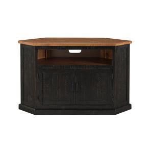 Martin Svensson - Rustic Corner TV Stand, Antique Black and Honey