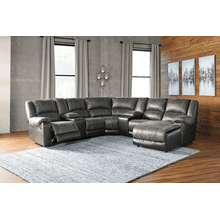 Nantahala - Slate - 2 Recliner Sectional with Right Facing Chaise and 2 Consoles