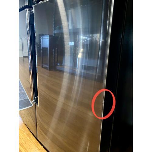 Samsung - Samsung RF22N9781SG 22 cu. ft. Family Hub™ Counter Depth 4-Door Flex™ Refrigerator in Black Stainless Steel(Dents)