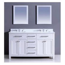 """AAPS-4201 60"""" Bohemian Style Vanity Cabinet with Double Sink and White Marble Top"""