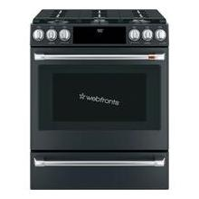 """See Details - Caf 30"""" Smart Slide-In, Front-Control, Dual-Fuel Range with Warming Drawer"""