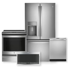 "GE PROFILE 27.7 Cu. Ft. French Door Refrigerator & 30"" Slide-In Front Control Induction and Convection Range Package"