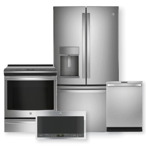 """GE PROFILE 27.7 Cu. Ft. French Door Refrigerator & 30"""" Slide-In Front Control Induction and Convection Range Package"""
